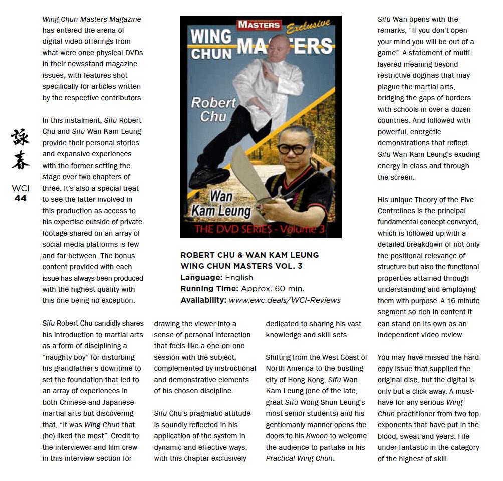 WCI Review – Wing Chun Masters Vol 3 – Robert Chu and Wan Kam Leung