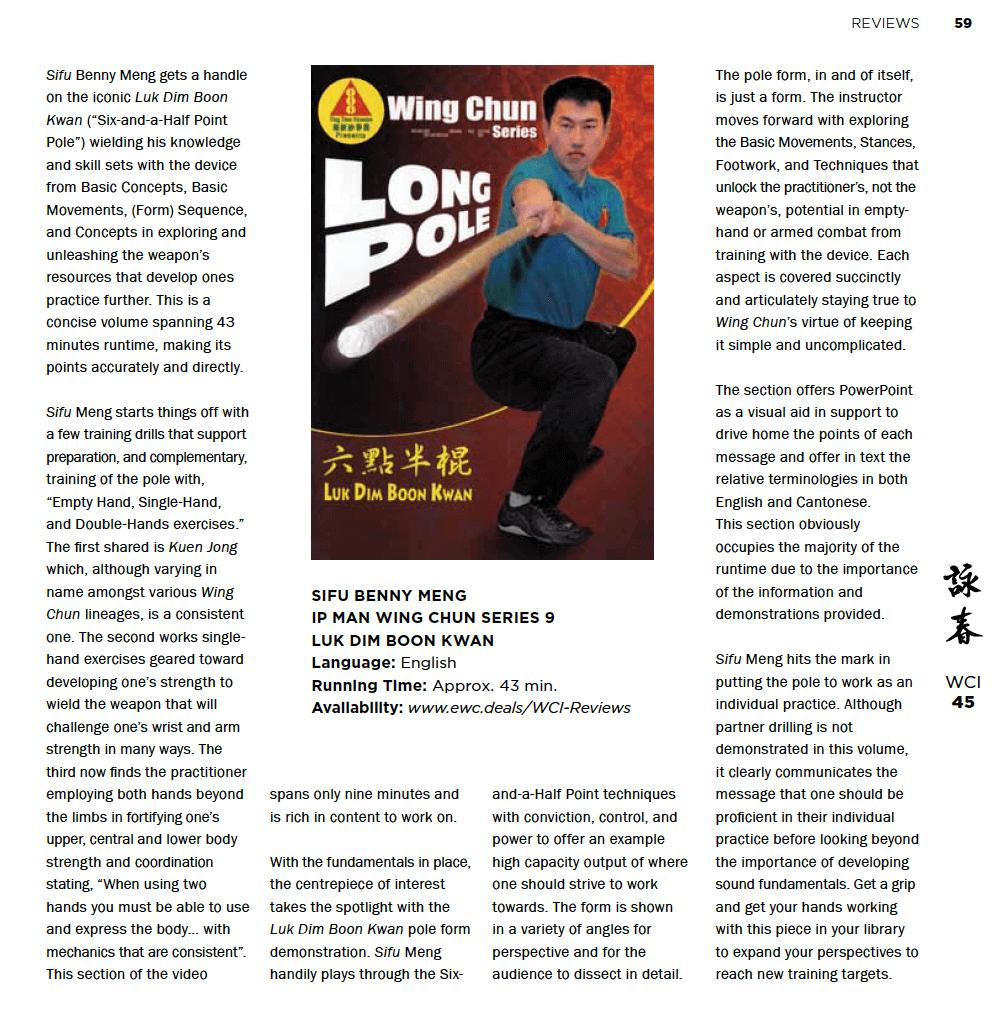 WCI Review – Benny Meng VTM Series 09 – Luk Dim Boon Kwan – Wing Chun Long Pole