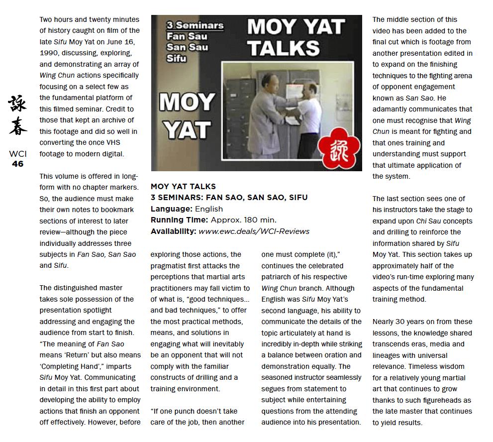 WCI Review – Moy Yat – Moy Yat Talks (Fan Sau, San Sau, Sifu)