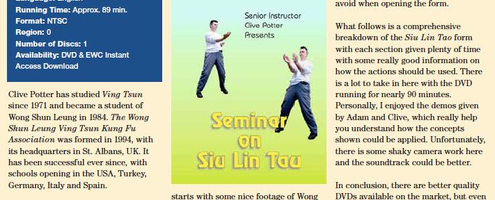 Review – Clive Potter's Siu Lin Tau DVD