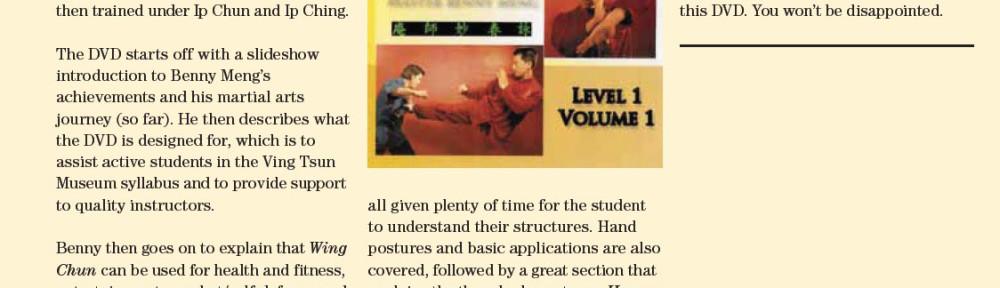 Review – Benny Meng's Shaolin Wing Chun Series Level 1 Vol 1
