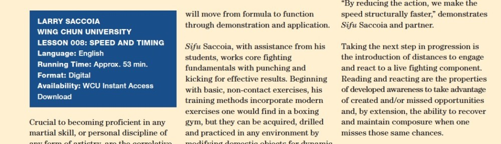 Review – Larry Saccoia – Wing Chun University – Speed And Timing