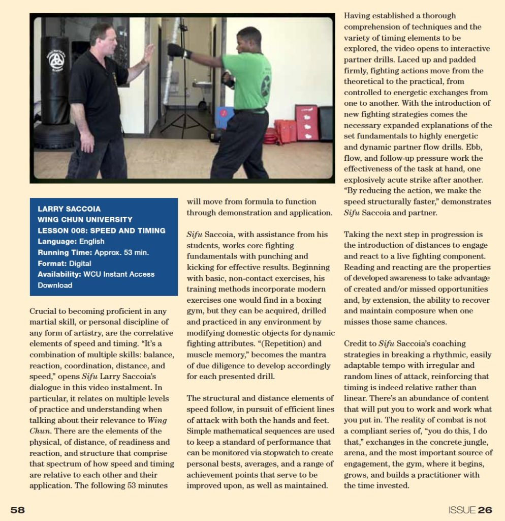 WCI Review - Issue 26a - Larry Saccioa Speed and Timing