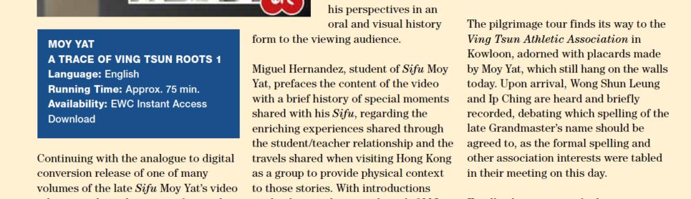 WCI Review – Moy Yat – Trace of Ving Tsun Roots 1